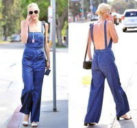 Jaime King doesn't wear a shirt under her overalls in West Hollywood