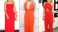 Cameron Diaz, Britney Spears and Carmen Electra wearing red jumpsuits
