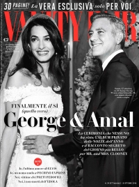 Amal Alamuddin and George Clooney on the cover of Vanity Fair Italy