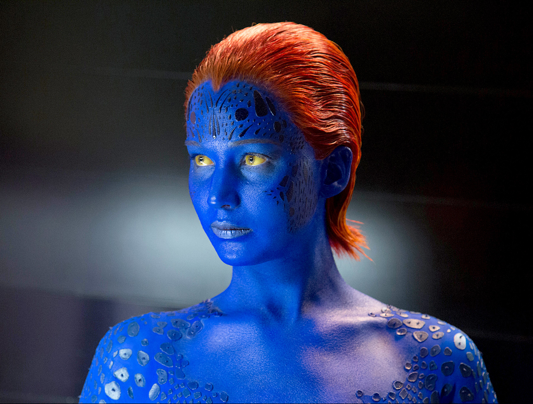 Hunger Games star Jennifer Lawrence went bad and blue as Raven Darkholme/Mystique in 2011's X-Men: First Class and 2014's X-Men: Days of Future Past .