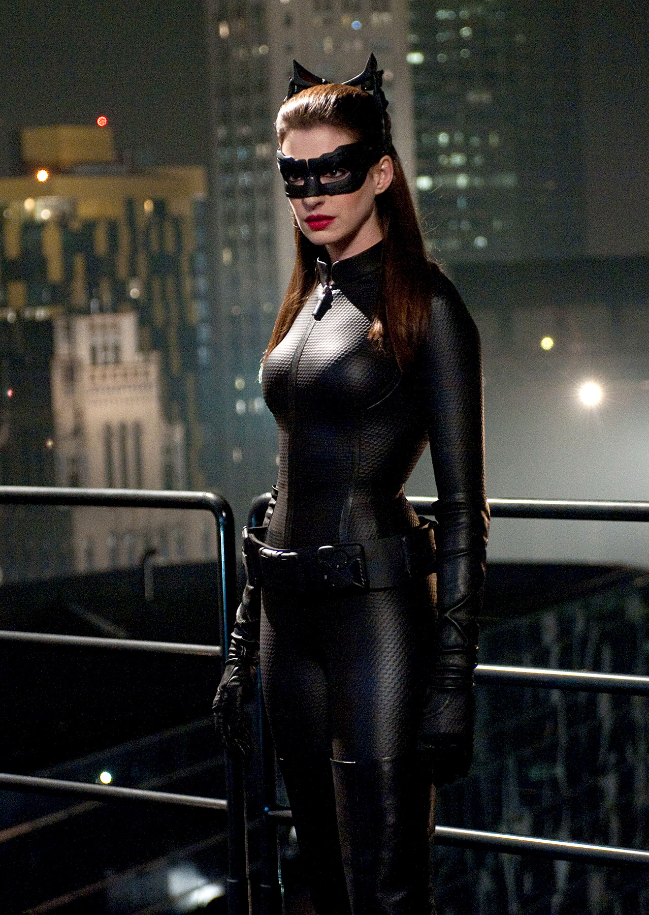 In 2012's The Dark Knight Rises , Oscar winner Anne Hathaway got purr-fectly catty as Selina Kyle/Catwoman.