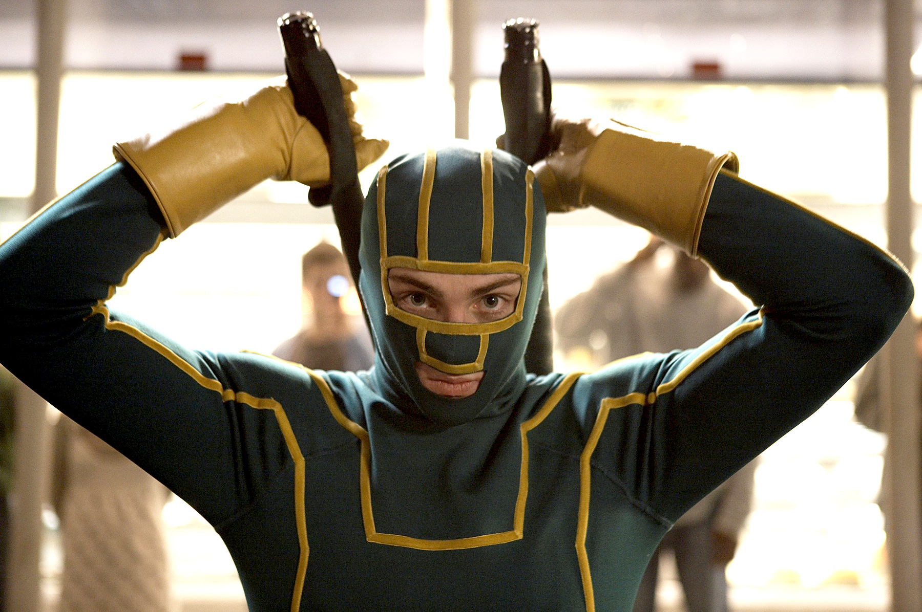 As Dave Lizewski, Aaron Johnson fashioned his own Kick-Ass super suit in 2010's surprise hit.