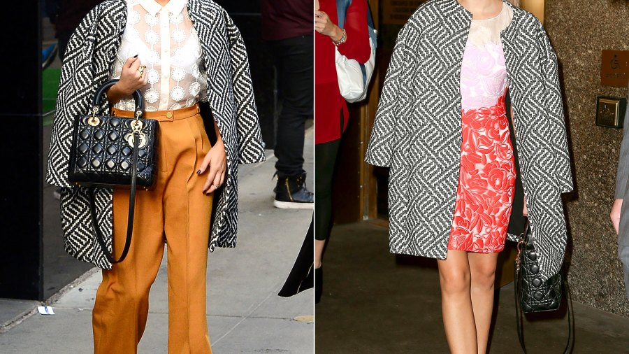 Sarah Hyland wears an Alice + Olivia Cocoon Coat in NYC on Oct. 21.