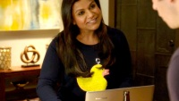Mindy Kaling wearing a duck sweater on 'The Mindy Project'