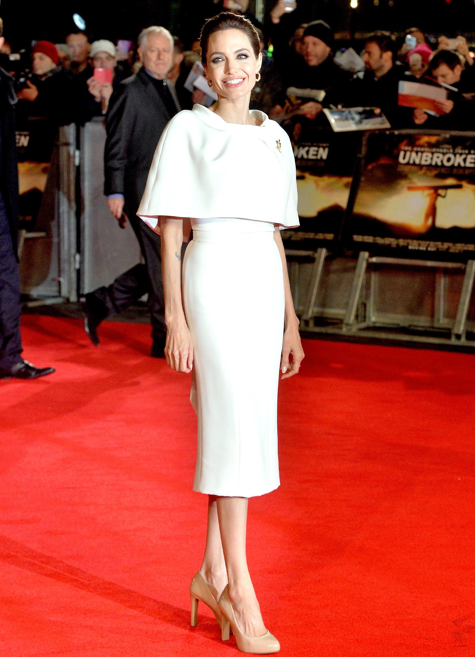 Angelina jolie white cape dress