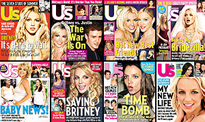 """Her """"Only Whish"""" this year! From Britney Spears' teenage romance with Justin Timberlake to her epic meltdown in 2007, check out the pop princess' most epic Us Weekly cover through the years."""