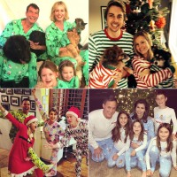 Christmas Pajamas Photoshoot.Celebrities Wearing Matching Holiday Christmas Pajamas Pics
