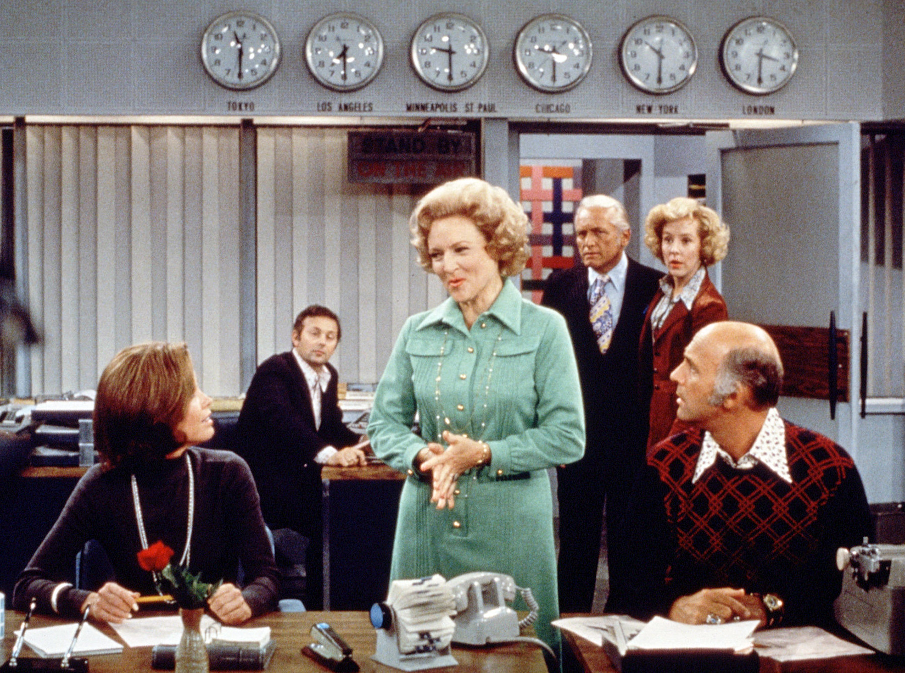 In the mid-'70s, White starred on The Mary Tyler Moore Show as Mary's judgmental, boy-crazy, frequent nemesis Sue Ann Nivens. The role won her two back-to-back Emmys.