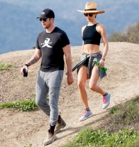 Maggie Q and Dylan McDermott hiking