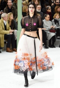 Kendall Jenner walks the runway during the Chanel show on Jan. 27.