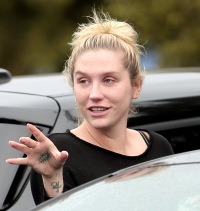 Kesha goes without makeup in L.A. on Feb. 7, 2015.