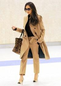 Victoria Beckham arrives at JFK Airport on February 9, 2015.