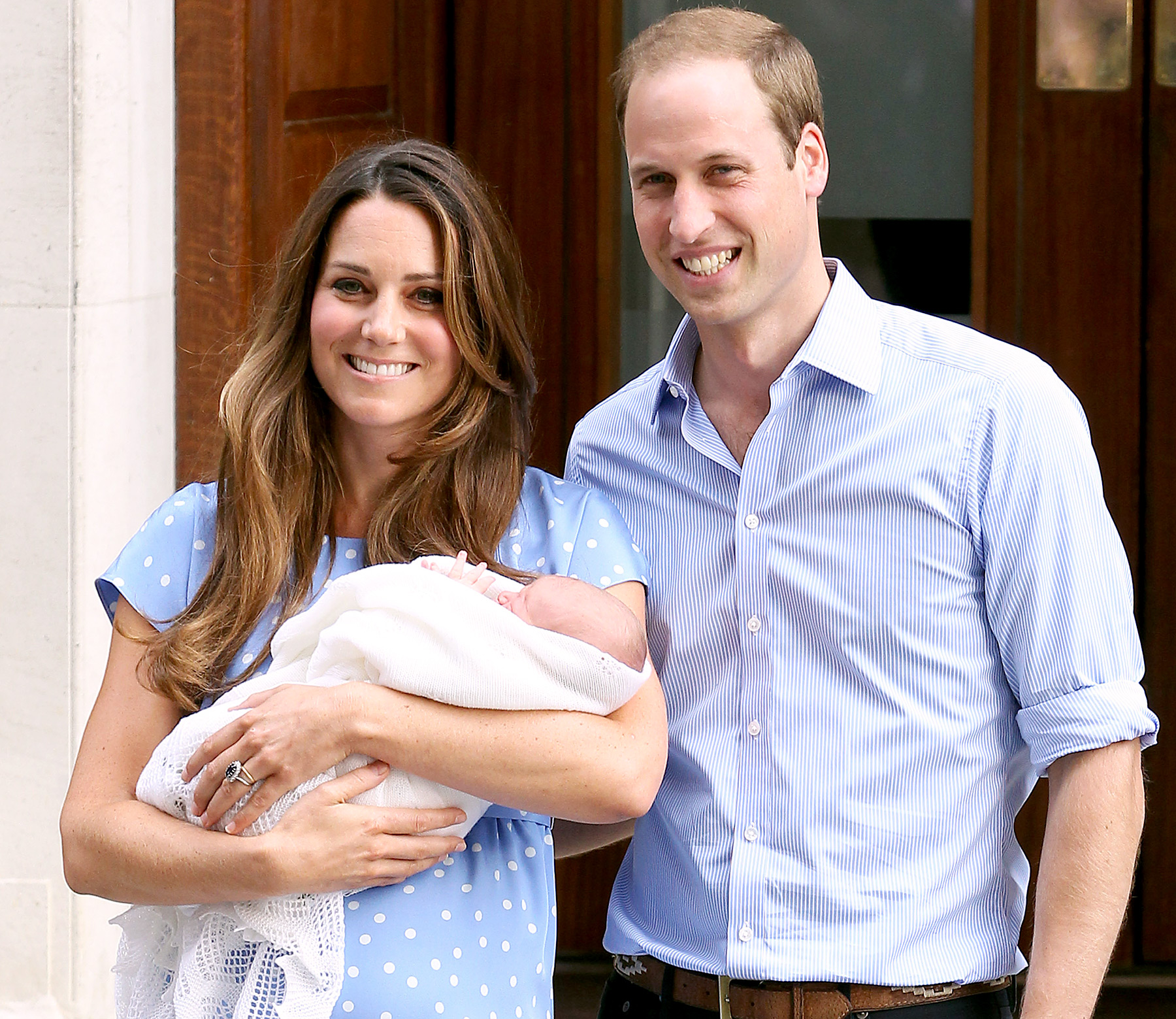 "Prince William and Duchess Kate welcomed their first baby into the world at St. Mary's Hospital on July 22, 2013. ""It's very emotional,"" the Duchess gushed of becoming a mom."