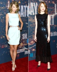 Taylor Swift, Emma Stone at the SNL 40th Anniversary Special.