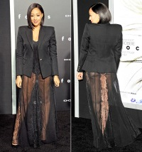 Tia Mowry wears a sheer skirt to the Focus premiere on Feb. 24, 2015.
