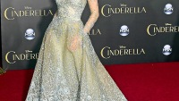 Lily James at the world premiere of Cinderella on March 1, 2015.