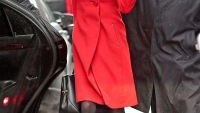 Amal Alamuddin in a red coat during a snow story in NYC on March 5.