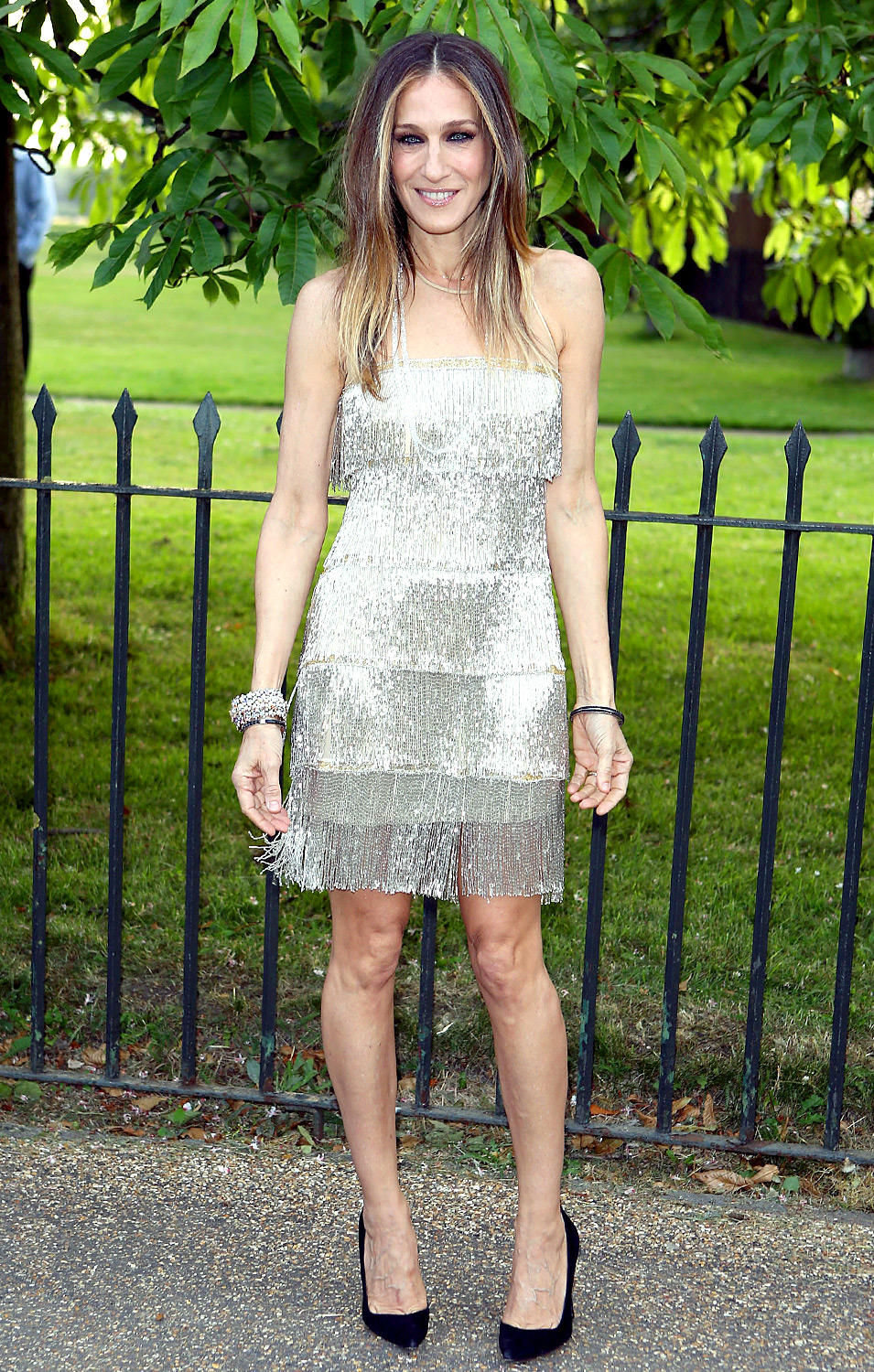 Channeling her inner '20s flapper, the Sex and the City star donned a shimmering, fringed dress to attend the Serpentine Gallery's annual summertime bash in London on June 26, 2013.