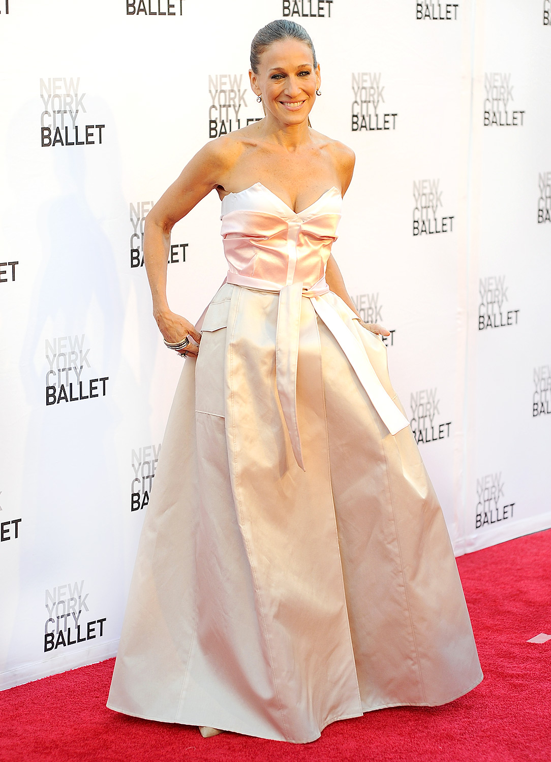 A lifelong dancer, Parker worked the carpet at New York City Ballet's Fall Gala on Sept. 9, 2013, in a blush-hued dress by two designers, Prabal Gurung and Olivier Theyskens. A slicked-back ponytail completed the ensemble.