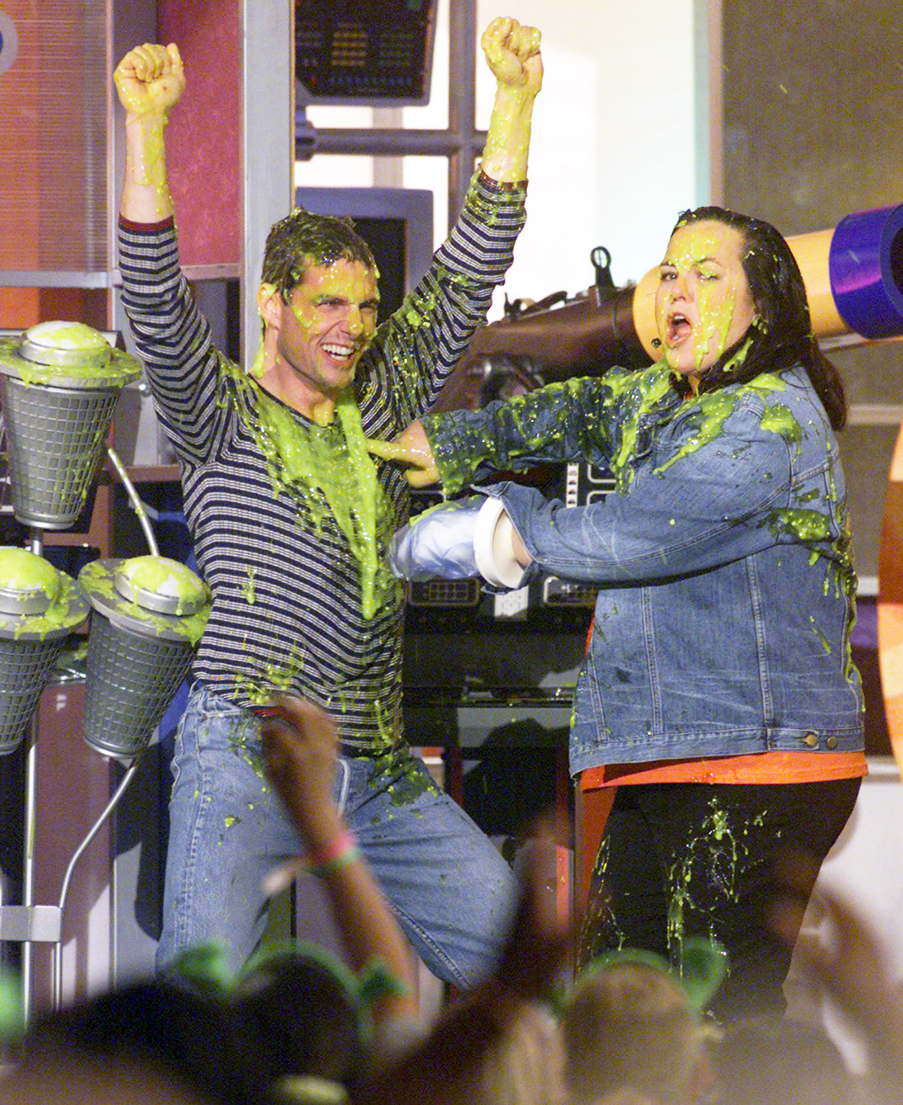 """My favorite guy in the world is here!"" host Rosie O'Donnell said before the Mission: Impossible actor was doused with green goo at the Barker Hanger in L.A. on Apr. 21, 2001. The comedienne tricked Cruise into getting slimed, telling him, ""I need your help . . .We're going to slime somebody and they don't have any idea who it is. All you gotta do is hit that top button!"""