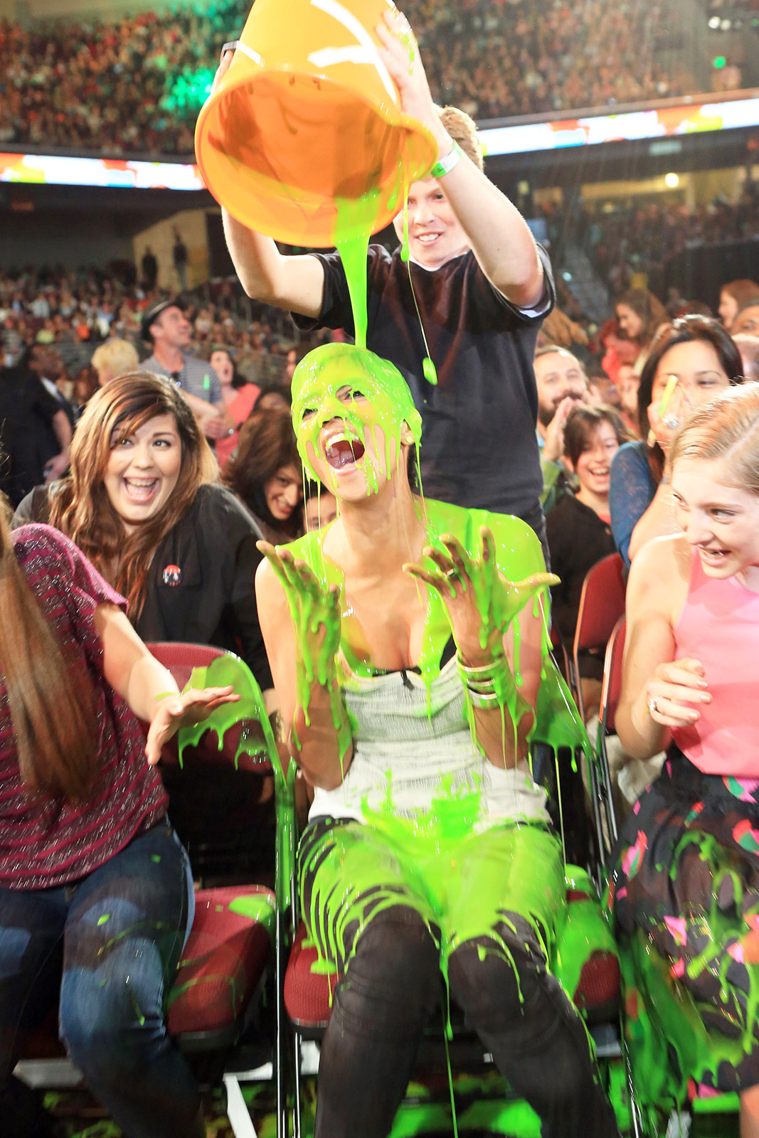 The Oscar winner was the first star to be slimed at the Galen Center on March 31, 2012. Chris Colfer , Justin Bieber , and host Will Smith were also given the goo treatment at various points throughout the show.