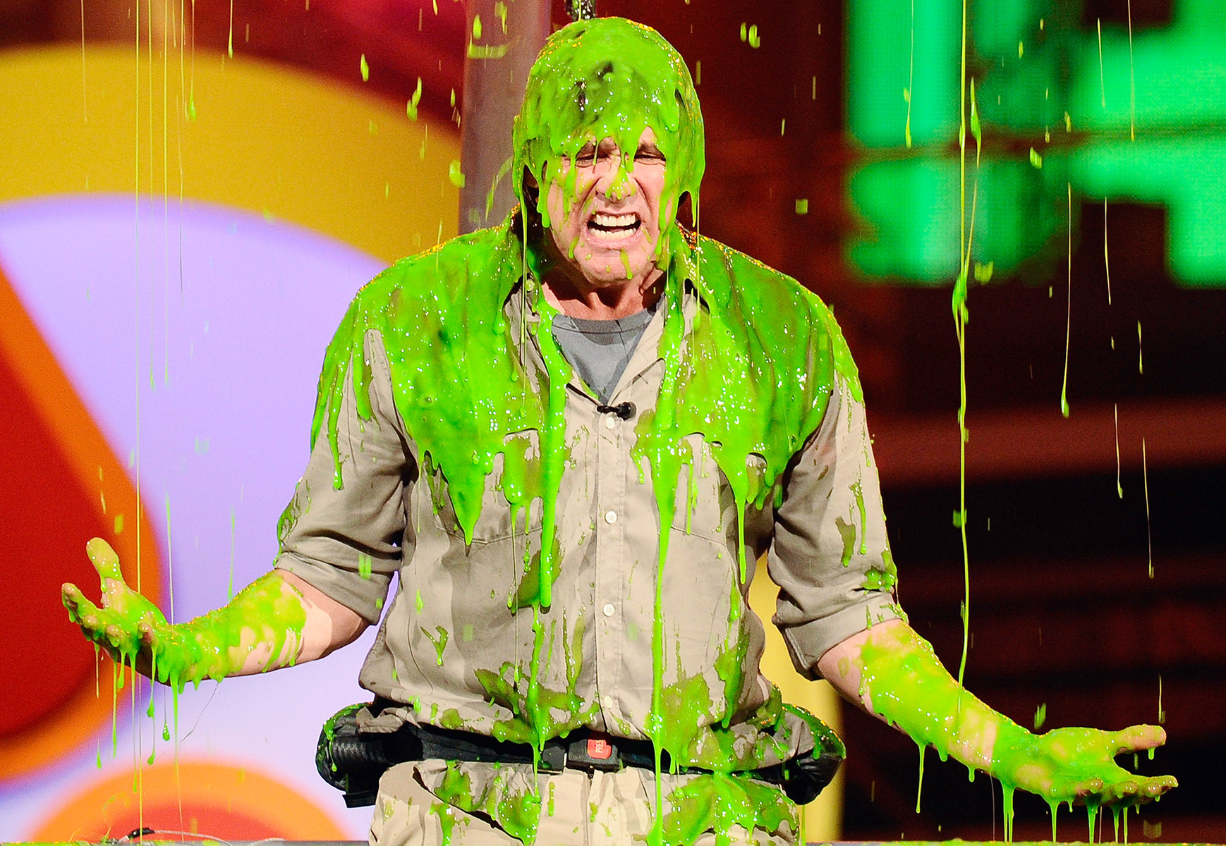 "The Mr. Popper's Penguins actor got drenched when a hot air balloon loaded with slime capsized above his head at the Galen Center in L.A. on Apr. 2, 2011. ""I hear that I won the award for favorite actor of all time in the universe, so I jumped in my balloon just to avoid the L.A. traffic,"" Carrey joked just before things got messy."