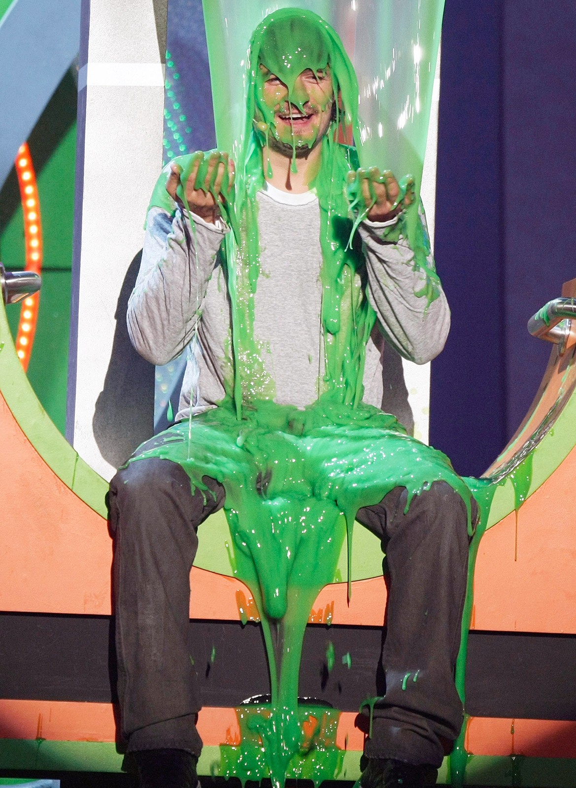 "The Pirates of the Caribbean actor and host Jack Black (not pictured) buckled into their seats to participate in the ""longest slime ever"" on March 29, 2008 at the Pauley Pavilion in Westwood, Calif."