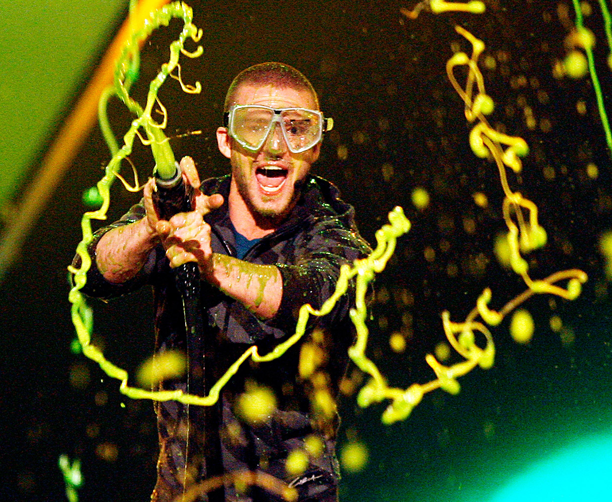 Six years after 'N Sync got slimed, the solo singer hosted the Kids' Choice Awards at the Pauley Pavilion in Westwood, Calif., on March 31, 2007. Timberlake got his revenge when he and Vince Vaughn (not pictured) closed the show by shooting slime at audience members.