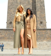 Kim and Khloe Kardashian visit the Mother Armenia statue in Yerevan.