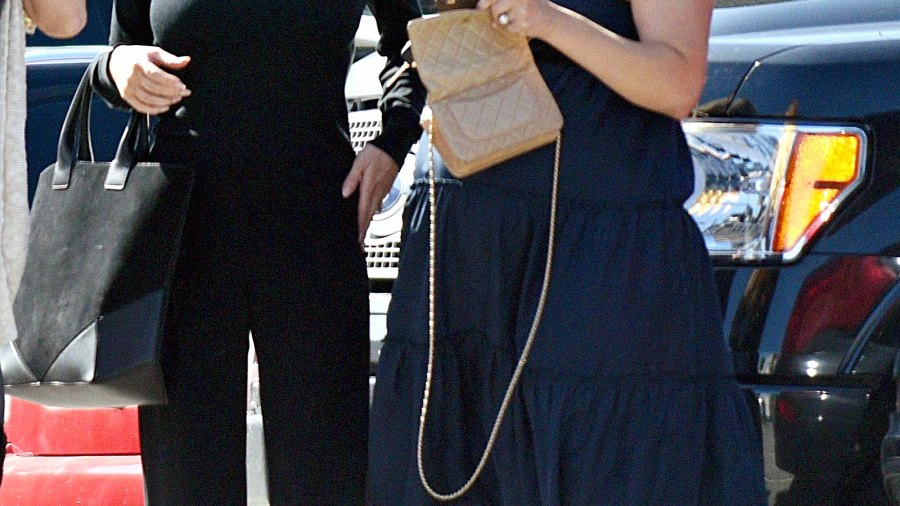 Jessica Simpson and pregnant Cacee Cobb in L.A. on April 8, 2015.
