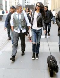 """Amal visits George Clooney on set of """"Money Monster"""" on April 12, 2015"""