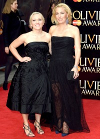 Gillian Anderson with her daughter Piper at the Olivier Awards.