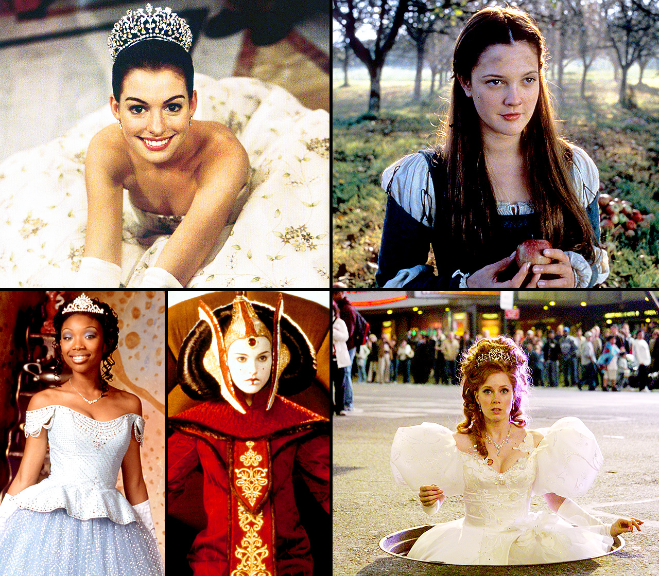 Anne Hathaway , Amy Adams and Audrey Hepburn may not be royalty in real-life, but you'd never know it based on some of their most famous film roles. All three ladies made waves as fictional versions of famous royal figures throughout history: Hathaway proved herself plenty regal with princess roles such as Ella in Ella Enchanted and Mia Thermopolis in the Princess Diaries ; while Adams fought for love with Prince Edward in Enchanted .