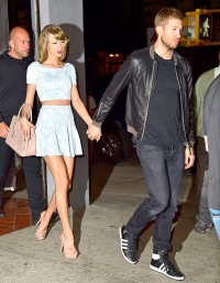 Taylor Swift and Calvin Harris are seen in Soho on May 26, 2015 in NYC