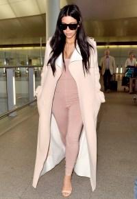 Kim Kardashian seen arriving at Heathrow Airport in London.