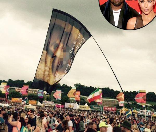 Kim Kardashian sex tape flag at Kanye's show