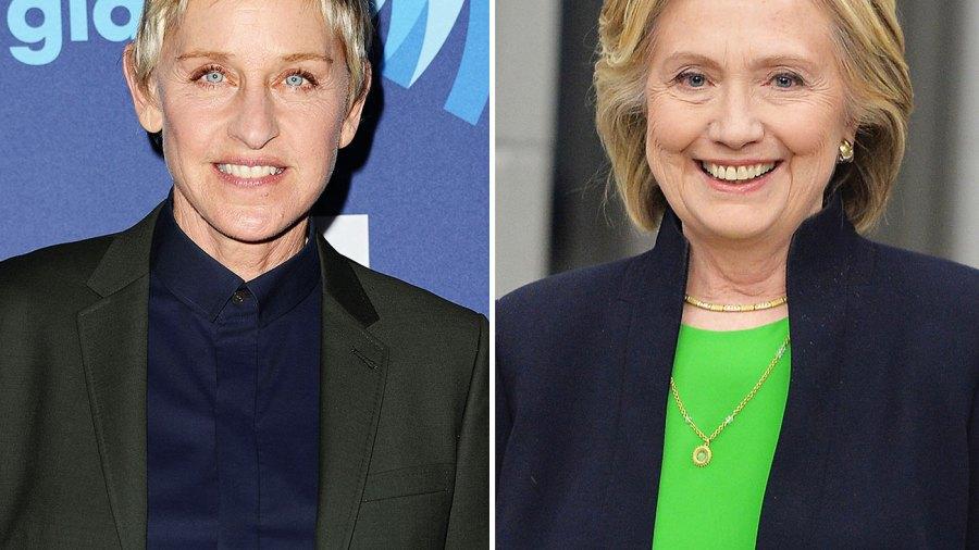 Ellen DeGeneres and Hillary Clinton