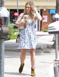 Hilary Duff wears a summery dress in Studio City, Ca. on August 3.