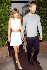 Taylor Swift and Calvin Harris leave dinner on August 12, 2015.