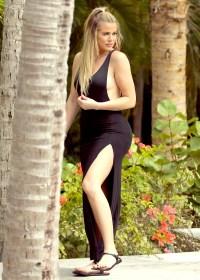 Khloe Kardashian wears a black maxi dress in St. Barts on August 17.