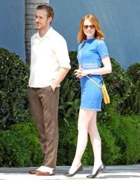 Ryan Gosling and Emma Stone filming their new movie 'La La Land'