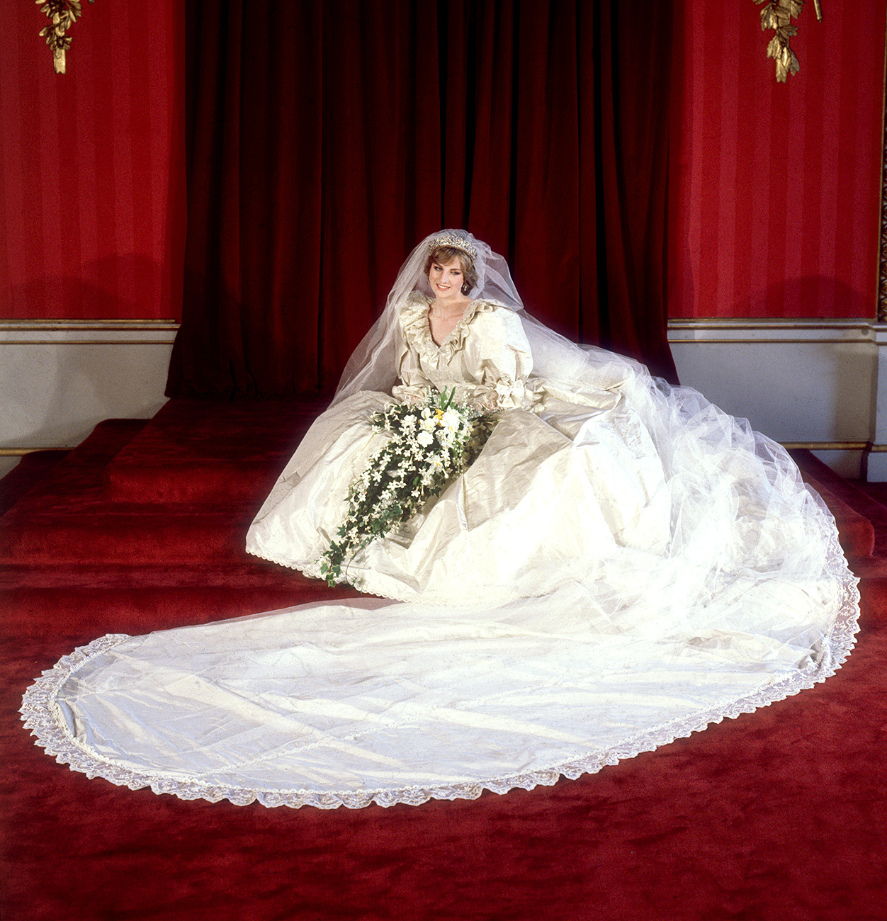 The most amazing royal wedding dresses ever us weekly princess diana of wales the most famous wedding gown junglespirit Image collections