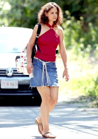 Katie Holmes wears a backpack on set of her new film on August 25.