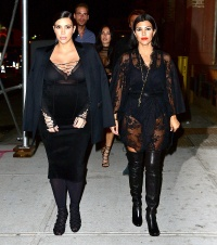 Kim Kardashian and Kourtney Kardashian in NYC on September 15, 2015.