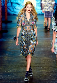 Gigi Hadid walks the runway wearing Anna Sui Spring 2016