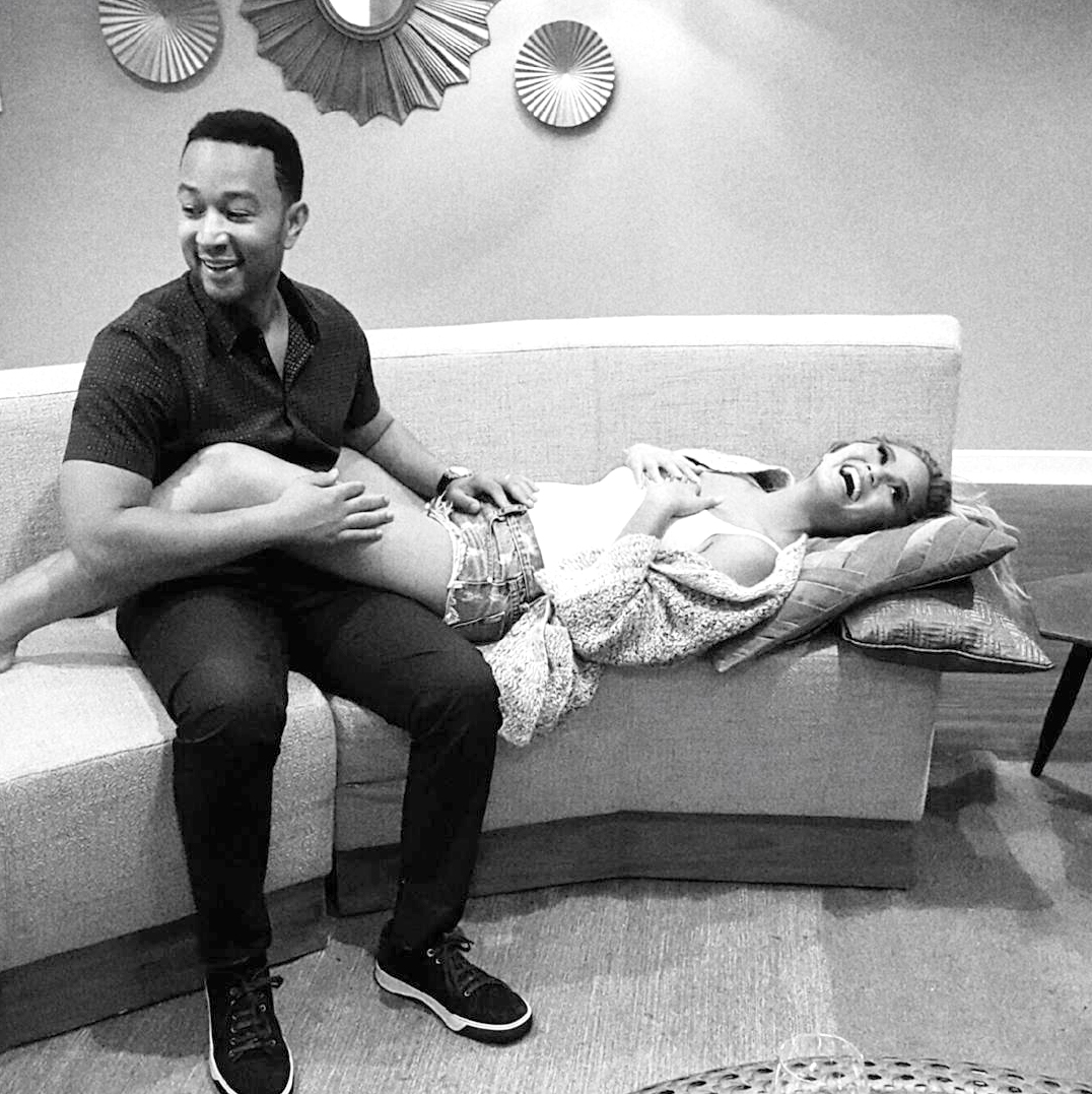 "The model revealed she and husband John Legend were expecting their first child via Instagram in October 2015. ""John and I are so happy to announce that we are pregnant. As many of you know, we've been trying to have a baby for a while now. It hasn't been easy, but we kept trying because we can't wait to bring our first child into the world and grow our family. We're so excited that it's finally happening. Thank you for all your love and well wishes. I look forward to all the belly touching!"""