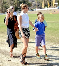 Gwyneth Paltrow and Moses attend the Veuve Clicquot Polo Classi