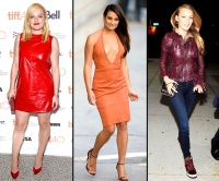 Elisabeth Moss, Lea Michele, Blake Lively all wear colorful leather