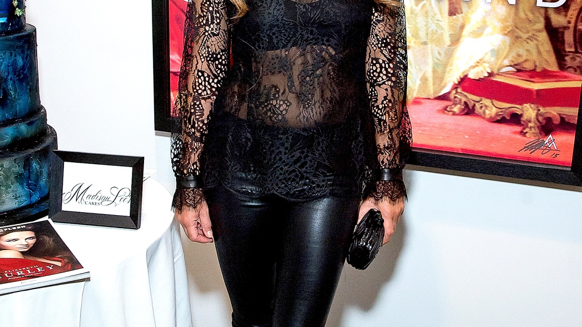 82421e482b252 Elizabeth Hurley Wears See-Through Lace Top, Leather Pants: Photos