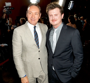 "Kevin Spacey and Beau Willimon arrives at the screening of Netflix's ""House of Cards"" Season 2 at the Directors Guild Of America on February 13, 2014 in Los Angeles, California."